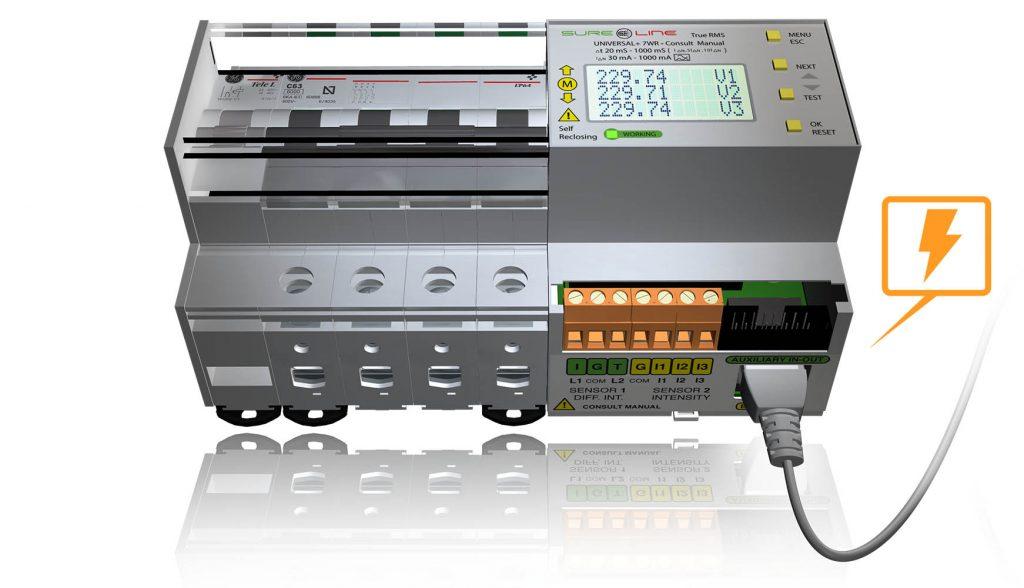 Protección electrica autorearmable, analizador y servidor Web 7wr-m1-eth-poe-ref